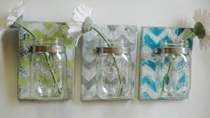 you pick chevron wall decor trio three mason jars mounted on