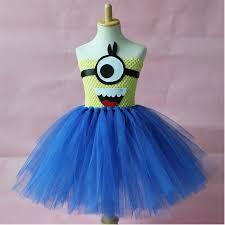 Minion Halloween Costumes Kids Cute Tulle Party Dress Cartoon Princess Minion Cosplay Tutu