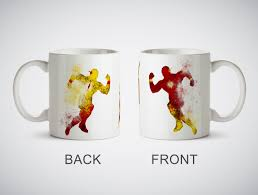 the flash vs reverse flash watercolor art print cup coffe tea