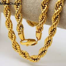 mens solid gold necklace images Mens 10mm thick 8 5 39 39 30 quot solid french rope chain 24k yellow gold jpg