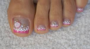 toes art design girly tutorial for beginners pink french pedicure