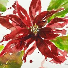 a cheerful poinsettia is a lovely watercolor bouquet on a