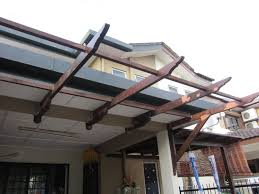 Traditional Home Designs Exterior Design Elegant Brown Polished Mahogany Wood Awning
