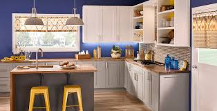 blue kitchen cabinets grey walls bold and blue bold and dramatic kitchen gallery behr