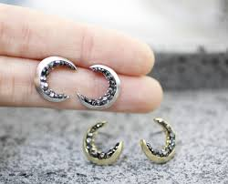 moon earrings crescent moon stud earrings detailed with black diamond crystals