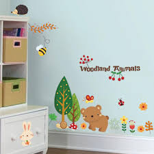 online get cheap wall decals woodlands aliexpress com alibaba group cartoon woodland animal cherry christmas wall stickers home decorations bear tree flower removable wall decals gift