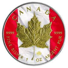 2014 1oz 5 cad canadian flag patriotic silver maple leaf gold