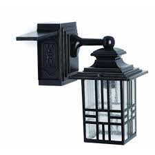 outdoor light with gfci outlet hton bay mission style black with bronze highlight outdoor wall