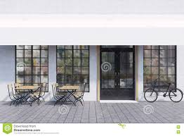 cafe exterior with tables and bike stock illustration image