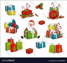 christmas boxes christmas gifts present boxes and santa claus vector image