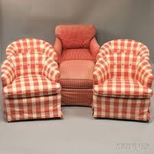 Plaid Chair And Ottoman by Search All Lots Skinner Auctioneers