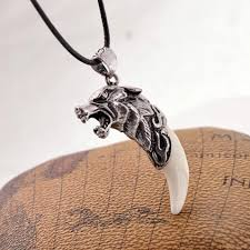 stainless mens necklace images Fashion men 39 s necklace stainless steel wolf tooth necklace animal jpeg