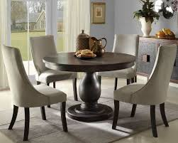 solid pedestal round table with upholstered chairs round