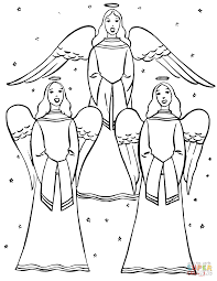 angels singing christmas carols coloring page free printable