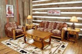 witching log cabin style futon with brown velvet cushions aside