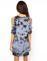 asos asos shift dress in tie dye with cold shoulder in blue lyst