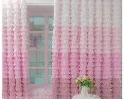 Ruffled Pink Curtains Ruffle Curtain Etsy