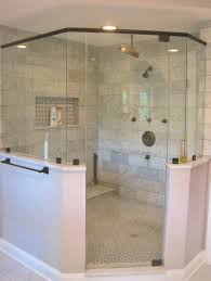 Brushed Bronze Bathroom Fixtures Master Bath Corner Shower Marble Subway Tile Rubbed Bronze