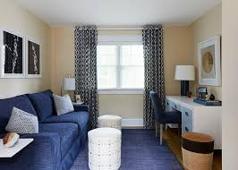Home Office With Sofa Blue Home Office With Blue Skirted Sofa Contemporary Den