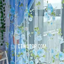 and shabby chic blue rose patterned lace curtains online no