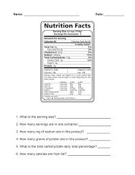 printables reading food labels worksheet eatfindr worksheets