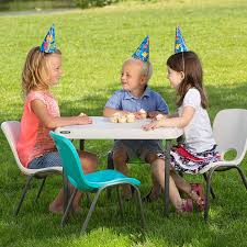 Kids Patio Table by Amazon Com Lifetime Kids Folding Table Almond Patio Lawn U0026 Garden