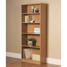 Bookcase Black Wood Bookcase Wide 5 Shelf Bookshelf Black Adjustable Wood Storage