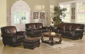 leather livingroom set leather trimmed sofa traditional rich brown leather sofa set
