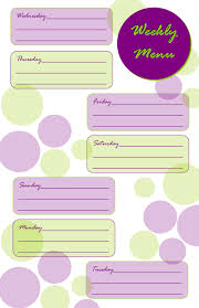 printable menu planner pages taking time to create weekly menu planner free printable