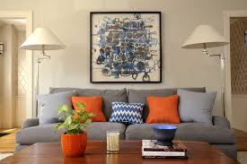 blue and gray sofa pillows blue and grey artwork living room transitional with oversized