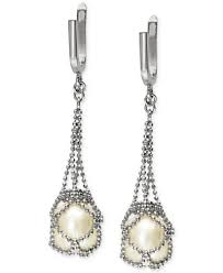 pearl lace pearl lace by effy cultured freshwater pearl cage drop earrings in