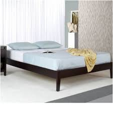 Simple Wooden Bed Frame Black Wooden Bed Frame With Four Legs And Blue Bedding Set Of