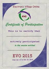 evo training certificates of participation