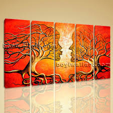 Home Decor Canvas Art Large Kiss Tree Face Canvas Art Home Decor Dining Room Prints