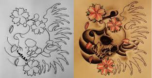 skull and cherry blossoms by 814ck5t4r on deviantart