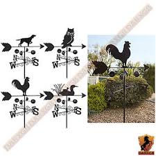 metal weather vane wind wheel garden stake duck owl