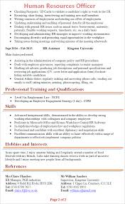 hr officer cv template tips and download cv plaza