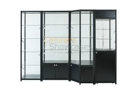 decoration tall glass curio cabinet 2 door glass display cabinet