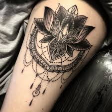 Leg Flower - black ink lotus flower on thigh