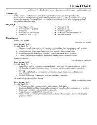 Examples Of Clerical Resumes by Best Data Entry Clerk Resume Example Livecareer
