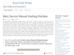 36 beko service manual washing machine
