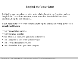 Resume Sample For Cook Position by Hospital Chef Cover Letter