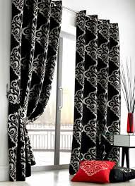 White And Black Damask Curtains Black Silver Curtains Sequin Luxury Black Voile Eyelet Curtain