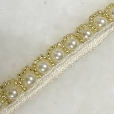 pearl lace gold trim pearl and kundan work payal border payal lace trim
