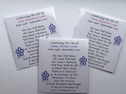 in memory of gifts personalised 10 x personalised seed funeral memorial remembrance favours gifts