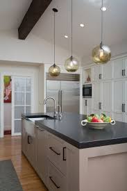 kitchen island pendant lighting adds soft glow in santa home