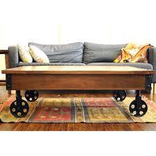 Rustic Coffee Table On Wheels Industrial Coffee Table With Casters Industrial Coffee Table