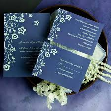 wedding invitations blue discount retro garden navy blue floral wedding invitation ewi166