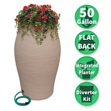 rescue 50 gal sandstone water urn flat back rain barrel with