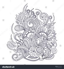 doodle with abstract doodle floral motifs ornament vector stock vector